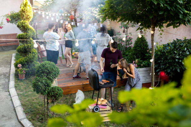 Summer party outdoors stock photo
