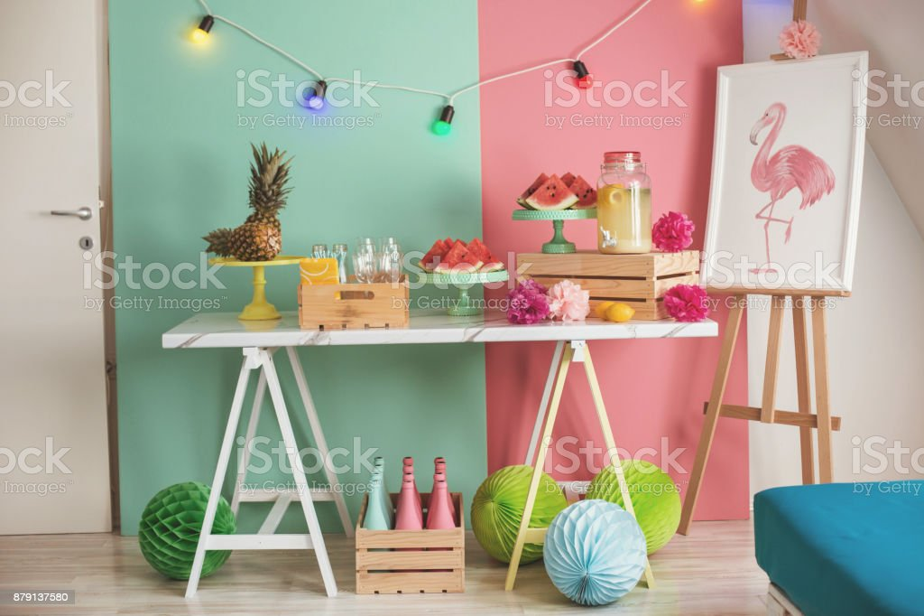 Summer party table stock photo