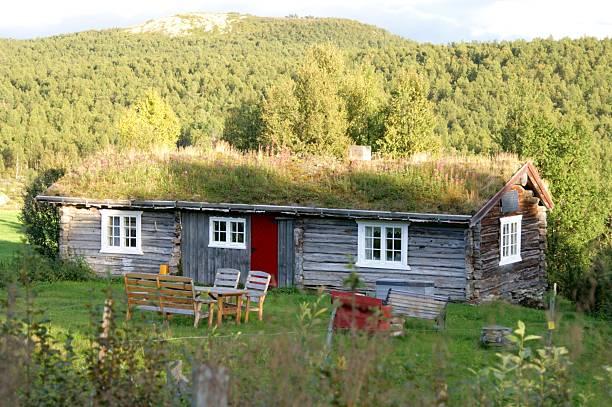 Summer pasture cottage stock photo