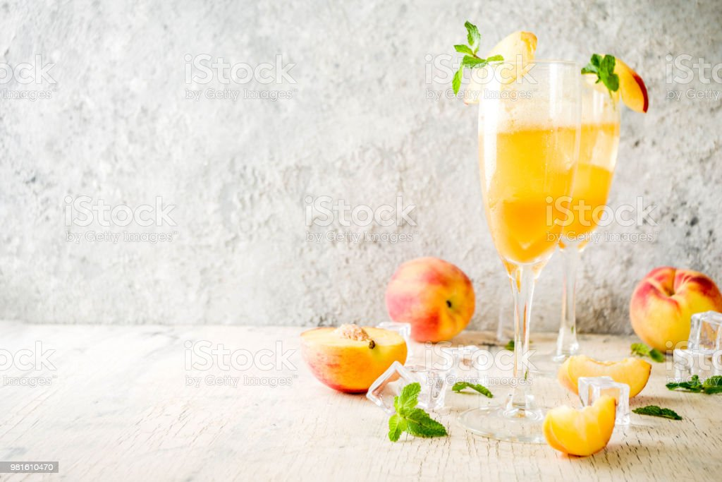 Summer peach Bellini cocktail stock photo