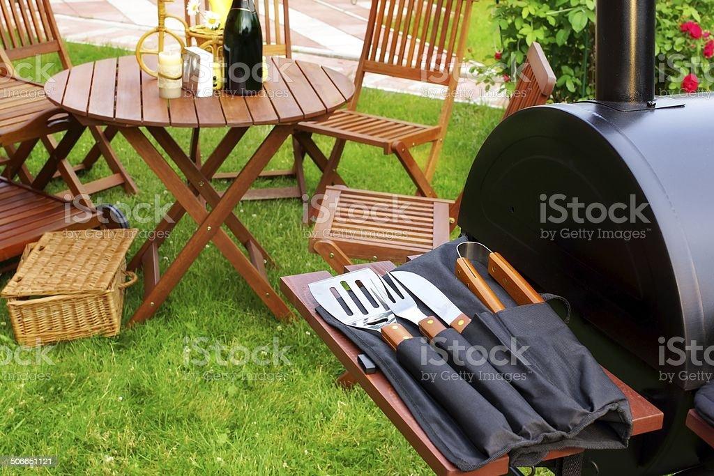 Summer Picnic in the Backyard stock photo