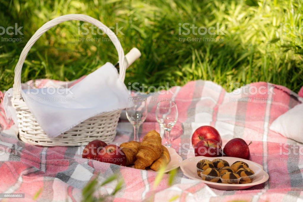 Pique-nique estival dans la forêt sur l'herbe. Vin, des fruits et des croissants. photo libre de droits