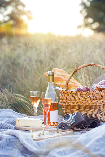 istock Summer - picnic in the meadow.  girl holding a basket for a picnic with baguette, wine, glasses, grapes and rolls