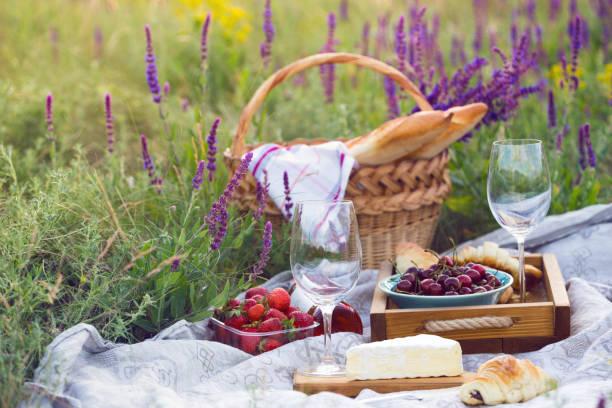 sommer - picknick auf der wiese-provence. brie käse, baguette, erdbeere, kirsche, wein, croissants und korb - romantisches picknick stock-fotos und bilder