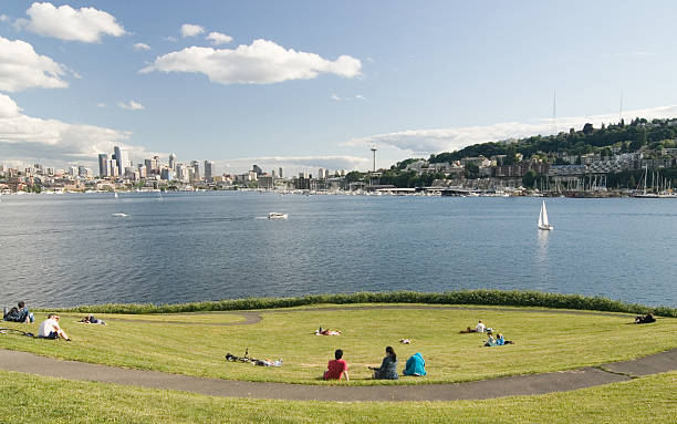 Summer picnic on Lake Union in Seattle stock photo