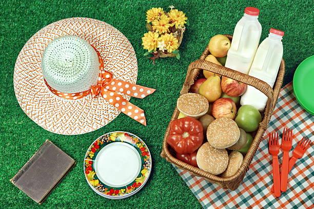 summer picnic scene on the fresh lawn - sprüche über reisen stock-fotos und bilder