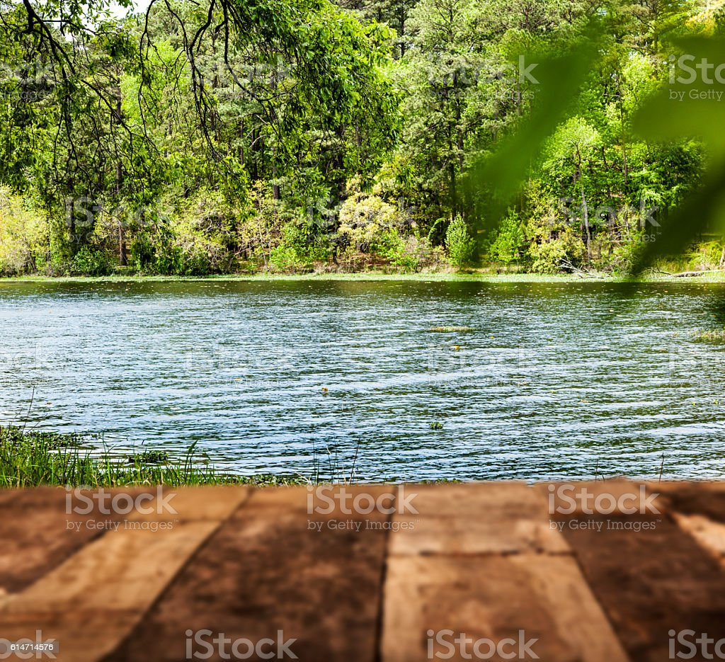 Summer picnic table with lake and trees. stock photo