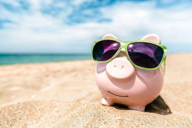 summer. - piggy bank stock photos and pictures