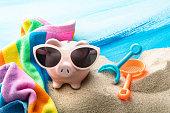 Summer: Piggy Bank on the Beach Still Life