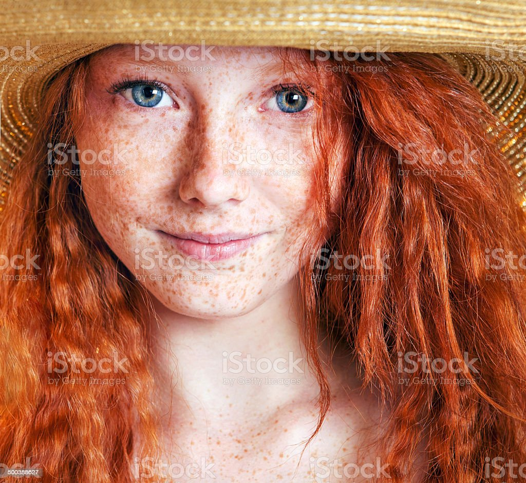 Summer portrait, beautiful freckled young woman stock photo
