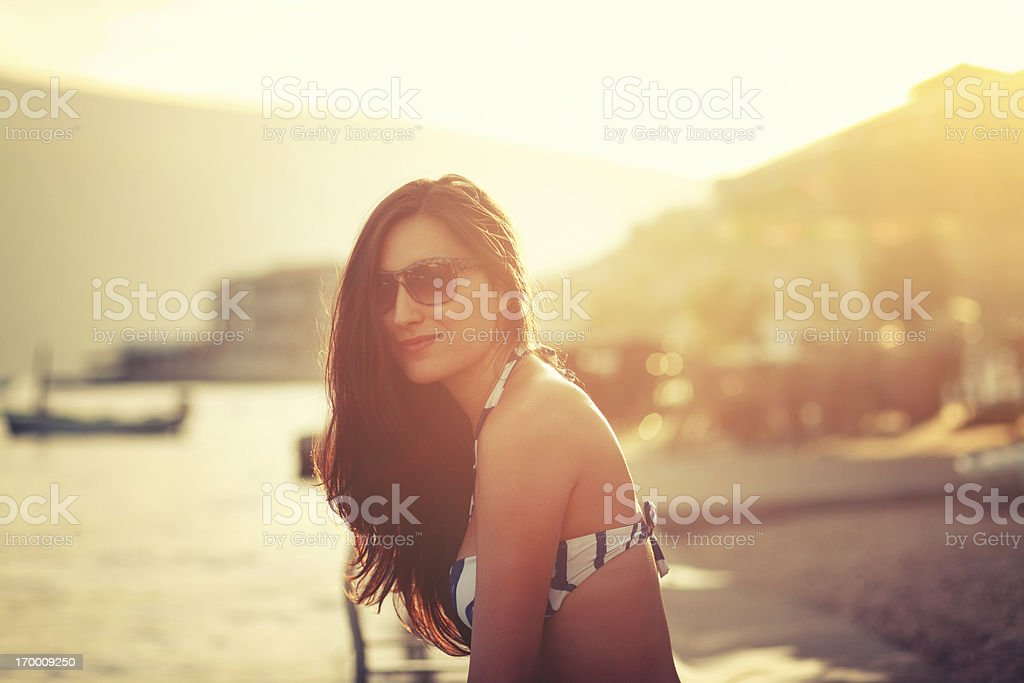 summer portrait by the sea stock photo