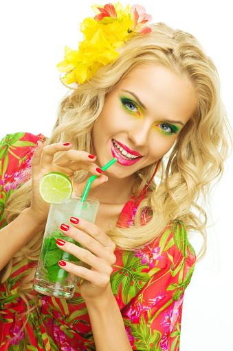 Summer Portrait Of A Beautiful Blonde Woman Drinking Tropical Drink Stock Photo - Download Image Now