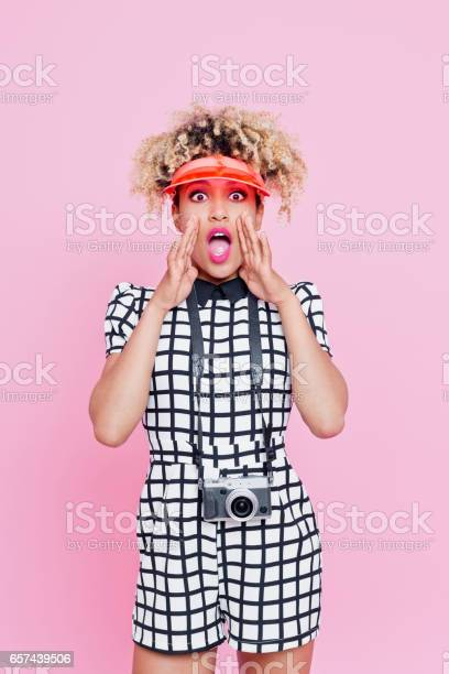 Summer Portrait Of Afro American Woman Shouting Stock Photo - Download Image Now