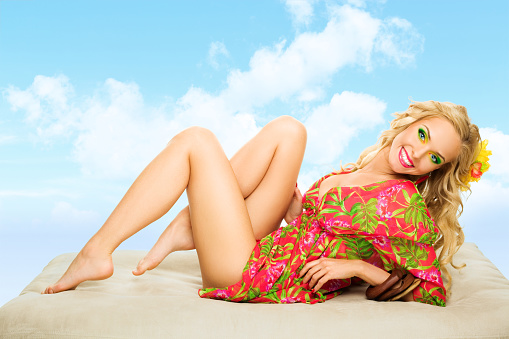 Summer Portrait Of Atractive Blonde Woman Stock Photo - Download Image Now