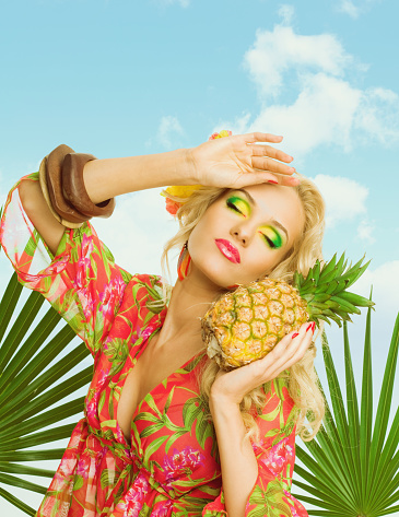 Summer Portrait Of Attractive Blonde Woman Holding Pineapple Fruit Stock Photo - Download Image Now