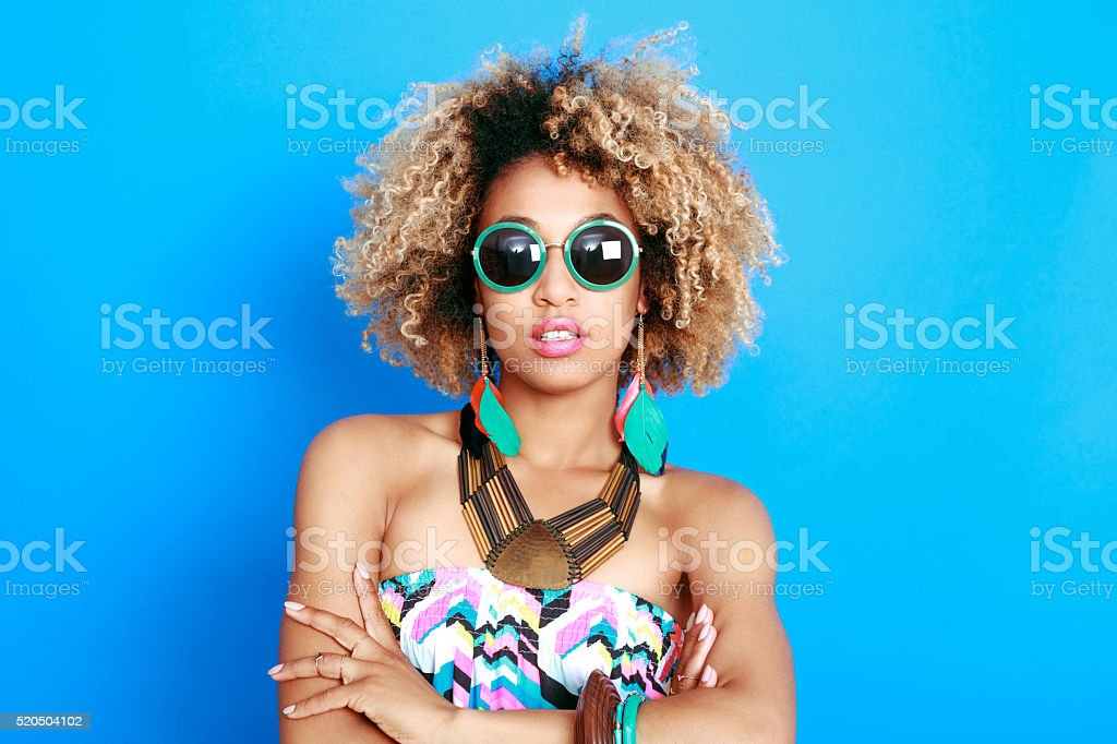 Summer portrait of beautiful afro american young woman stock photo