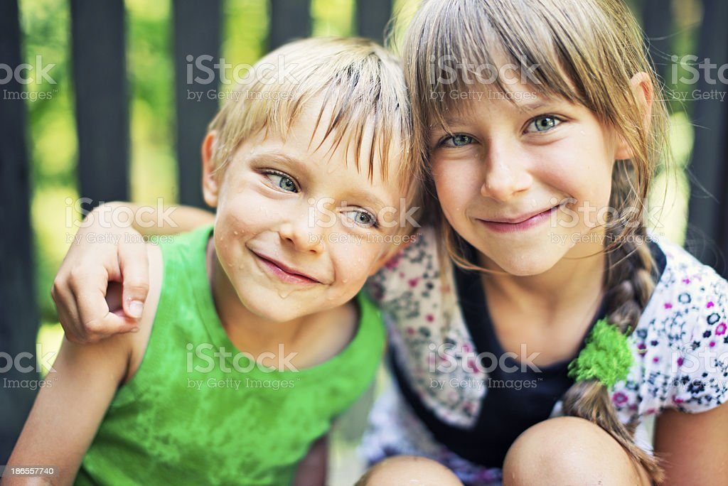 Summer Portrait Of Brother And Sister Stock Image
