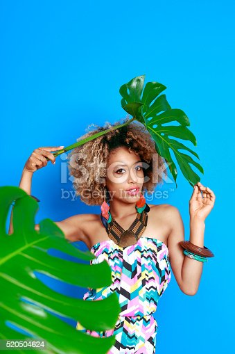 istock Summer portrait of sensual afro american young woman 520504624
