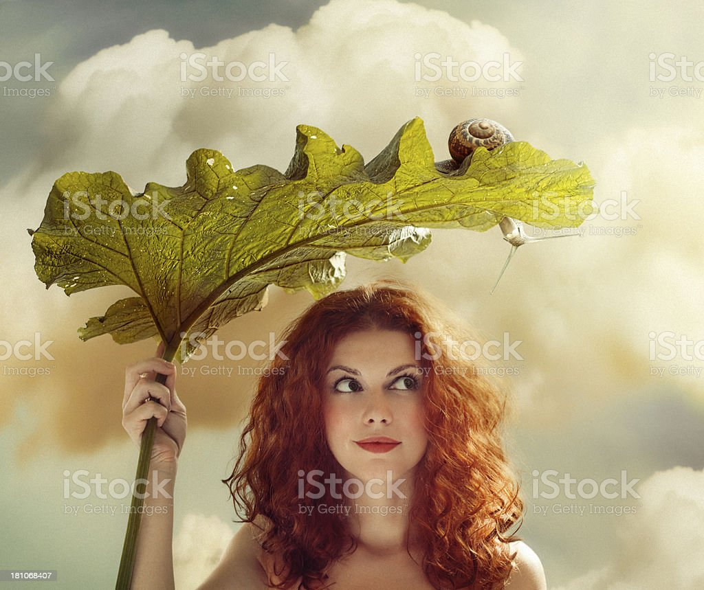 Summer portrait with snail stock photo