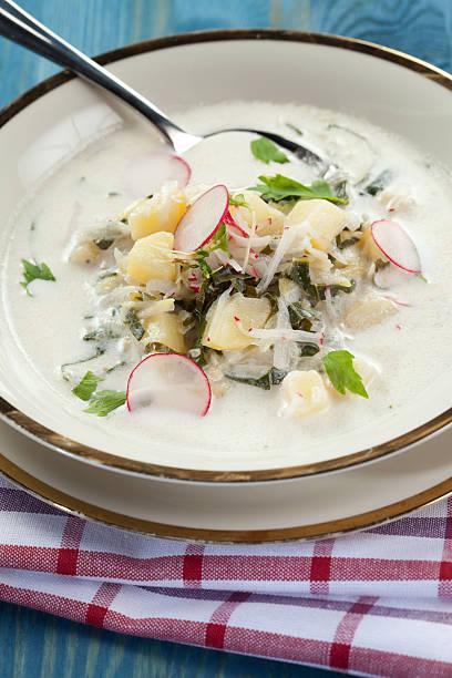 Sommer Kartoffelsuppe mit Rettich und kohlrabi – Foto
