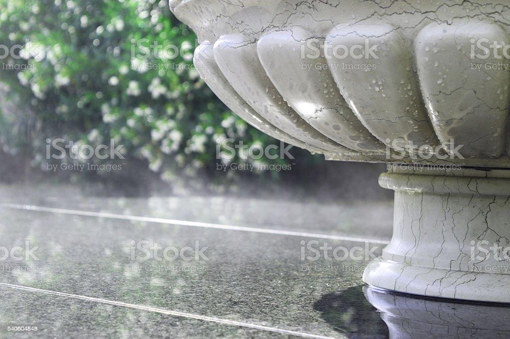 Summer rain in the city park stock photo