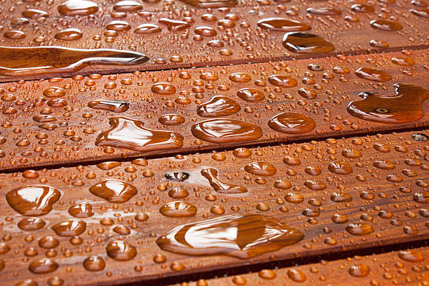 Summer rain on deck stock photo