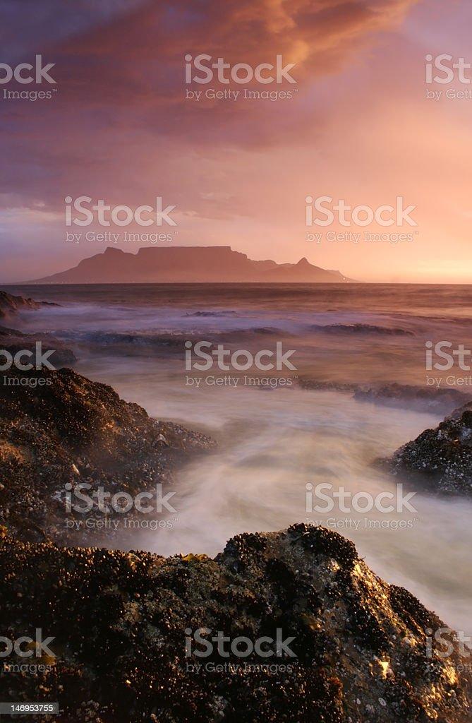 Summer Rain over Table Mountain royalty-free stock photo