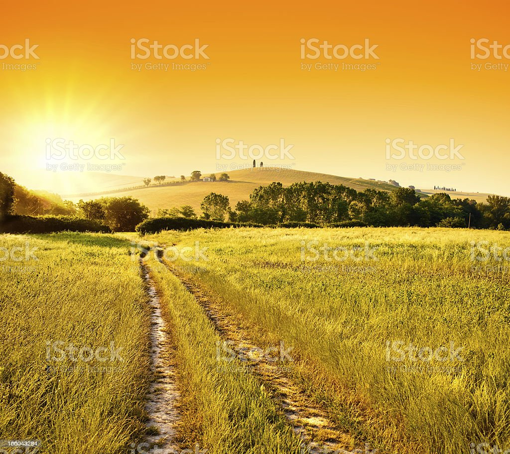 summer red sunrise or sunset  in italy tuscany hills path royalty-free stock photo