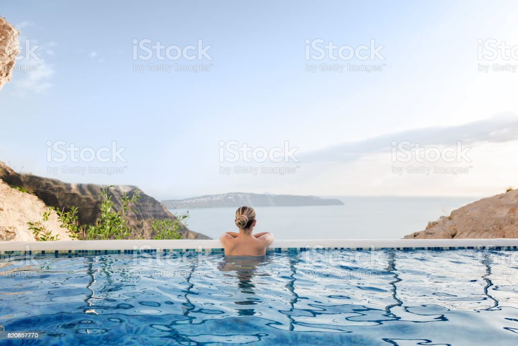 Summer relax in pool stock photo