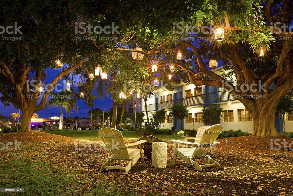 Summer Resort Garden Lanterns and Chairs stock photo