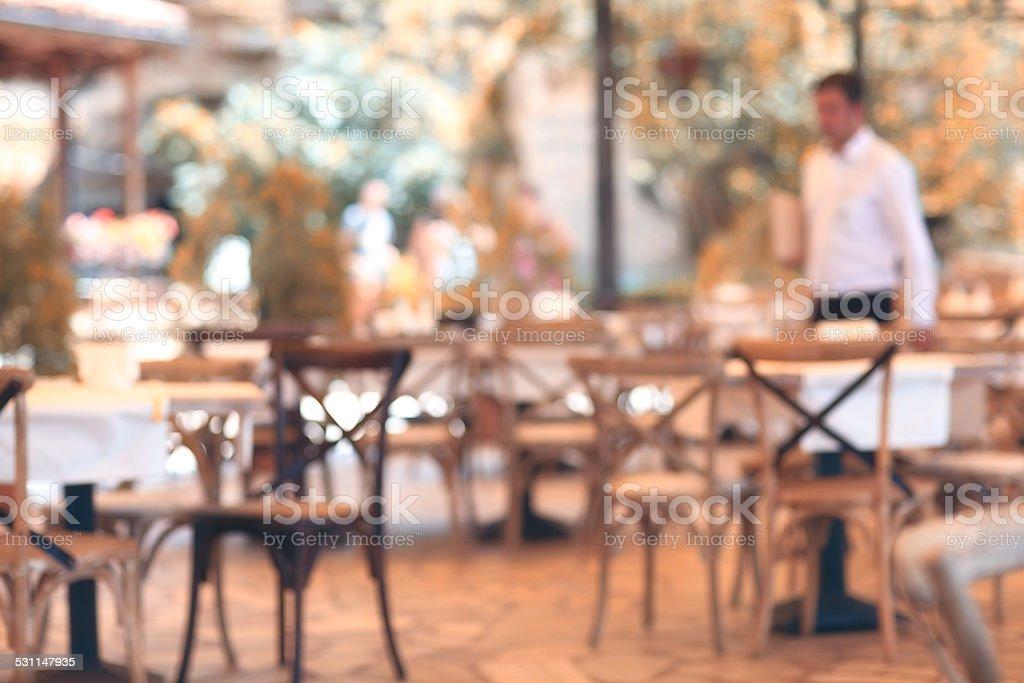 summer restaurant blurred background stock photo