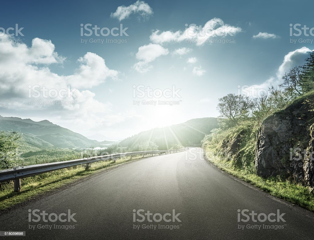summer road in mountain, Lofoten islands, Norway stock photo