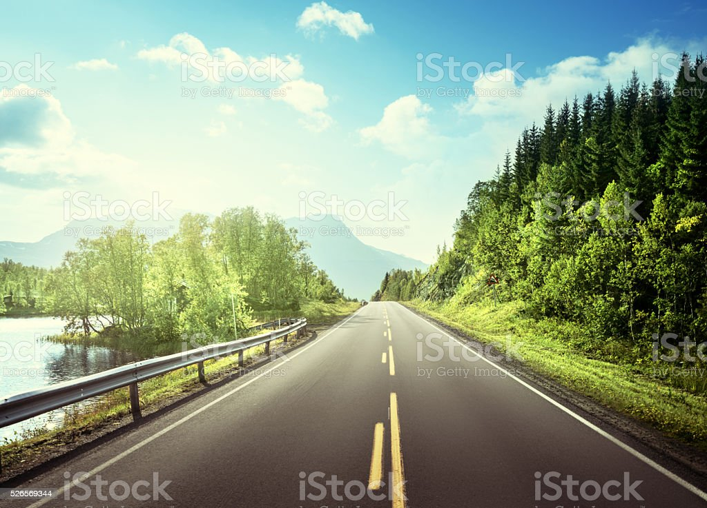 summer road in mountain,  Norway stock photo