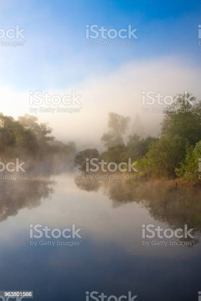 Photo of summer rural  landscape with river and fog