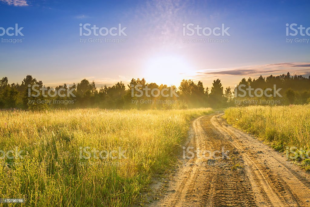 summer rural landscape with sunrise  and the road stock photo