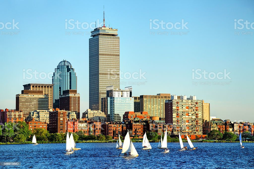 Summer Sailing in Boston on the Charles River stock photo