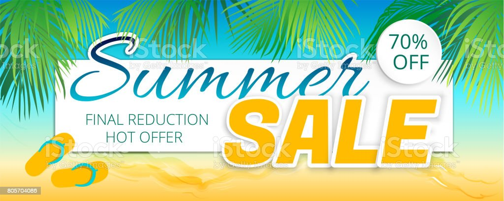 Summer sale advertising poster in a maritime color. stock photo