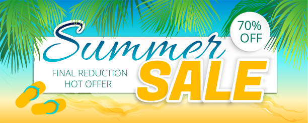 Summer sale advertising poster in a maritime color. - foto stock