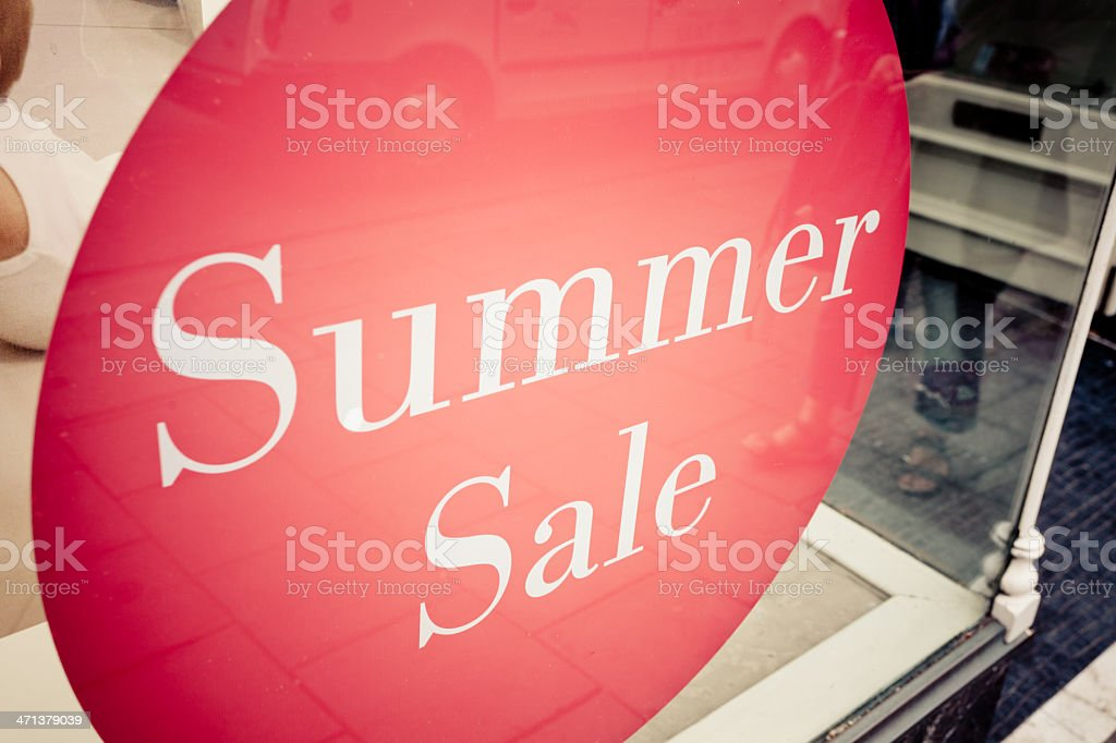 Summer Sale Discount Sign on a Shop stock photo