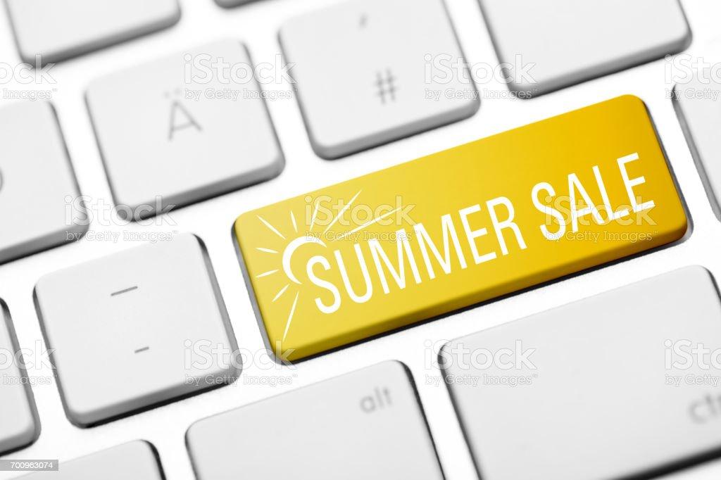 summer sale keyboard stock photo