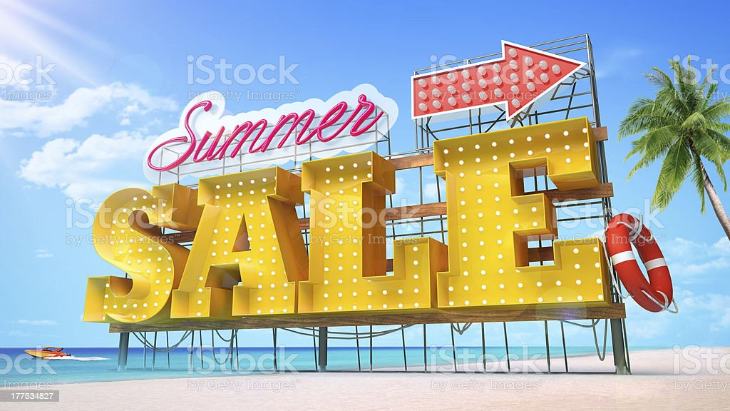 Summer sale on the beach for a store stock photo