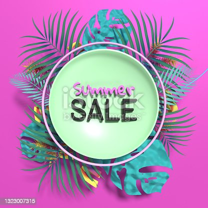 istock Summer Sale Poster with Tropical Leaves and Peacock Feathers 1323007315