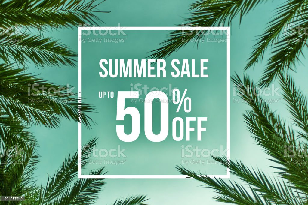 Summer Sale Up To 50% Off Sale stock photo