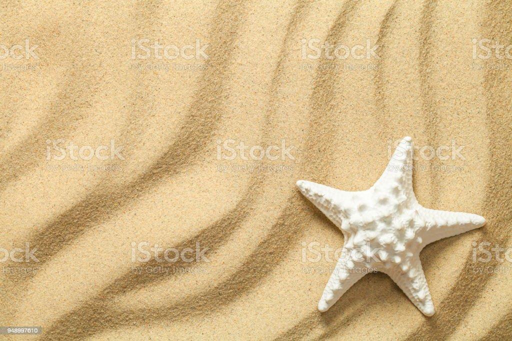 Summer, Sand Background with Starfish stock photo