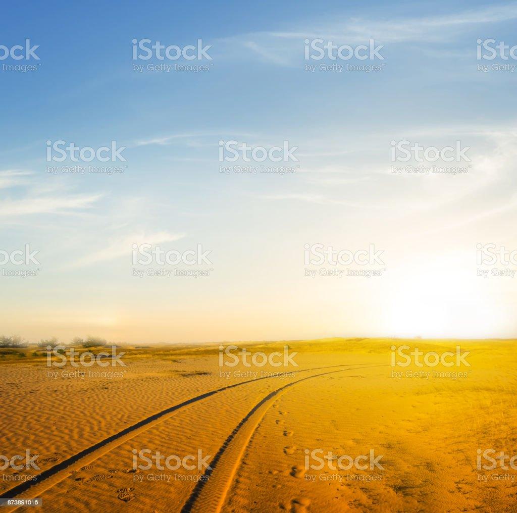 summer sand desert at the sunset stock photo