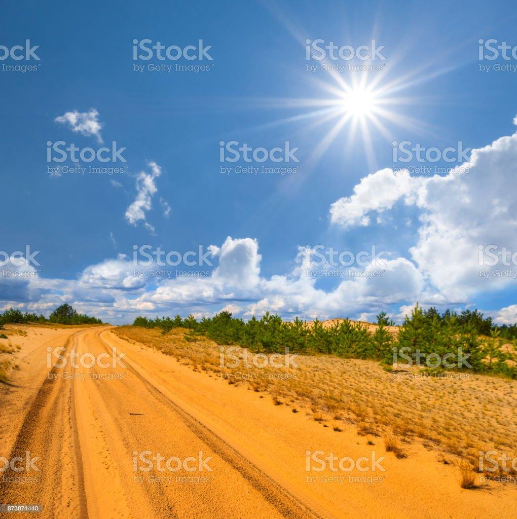 summer sandy desert under a sparkle sun stock photo