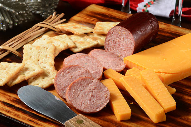 summer sausage and cheese - sausage stock photos and pictures