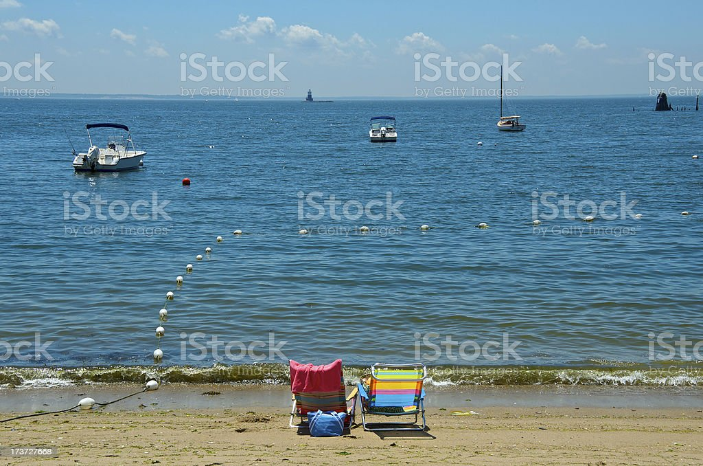 Summer Scene at beach, Connecticut, New England, USA royalty-free stock photo
