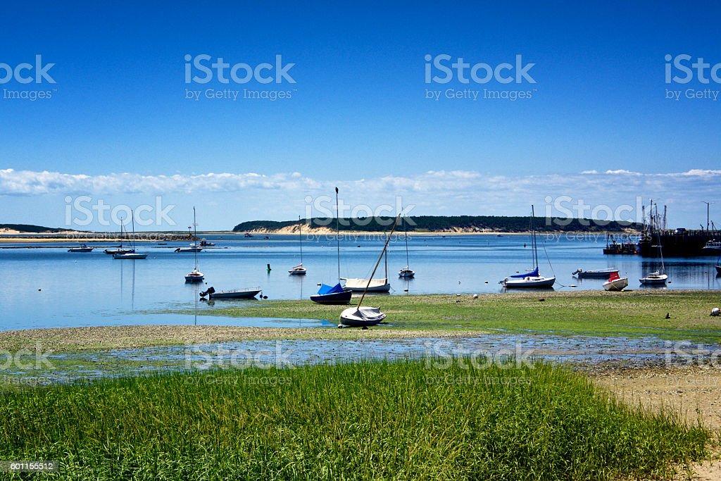 Summer Scene, Boats along Shoreline, Cap Cod, New England, USA stock photo