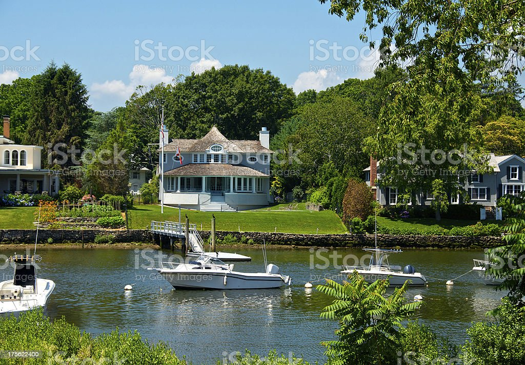 Summer Scene, Boats moored at inlet, Connecticut, New England, USA stock photo